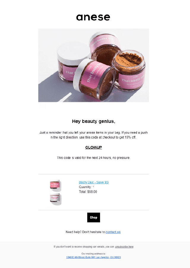 Shift4Shop Abandoned Cart Email templates for Beauty Products