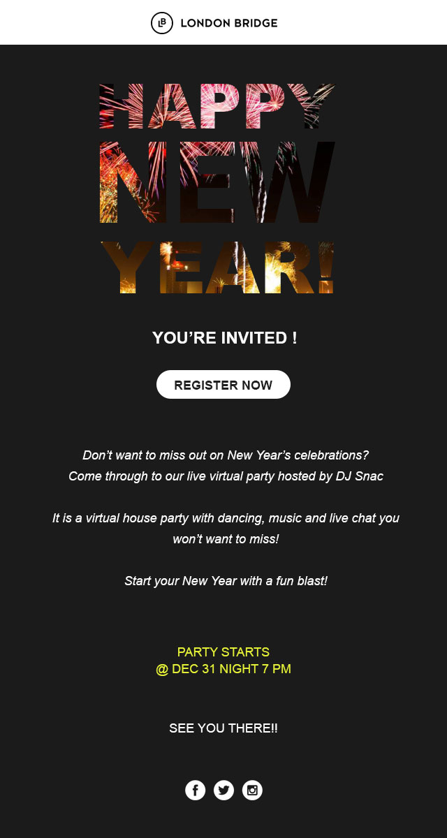 New year email template for invitation