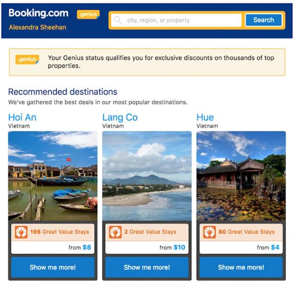 booking.com's trigger email