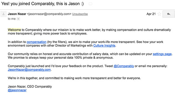 Comparably's welcome email
