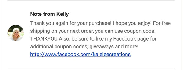 Kalelee Creations' coupon code trigger email