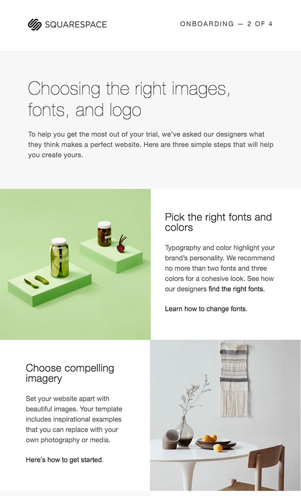 Squarespace's trigger email