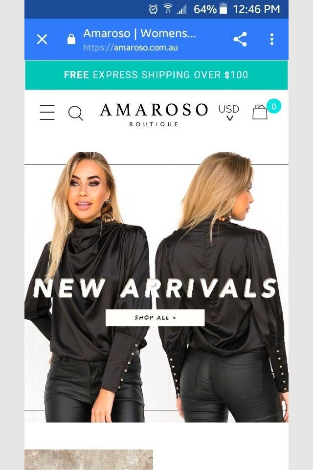 Amorosa's abandoned cart email