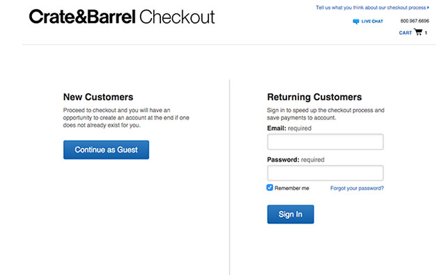 Crate & Barell checkout
