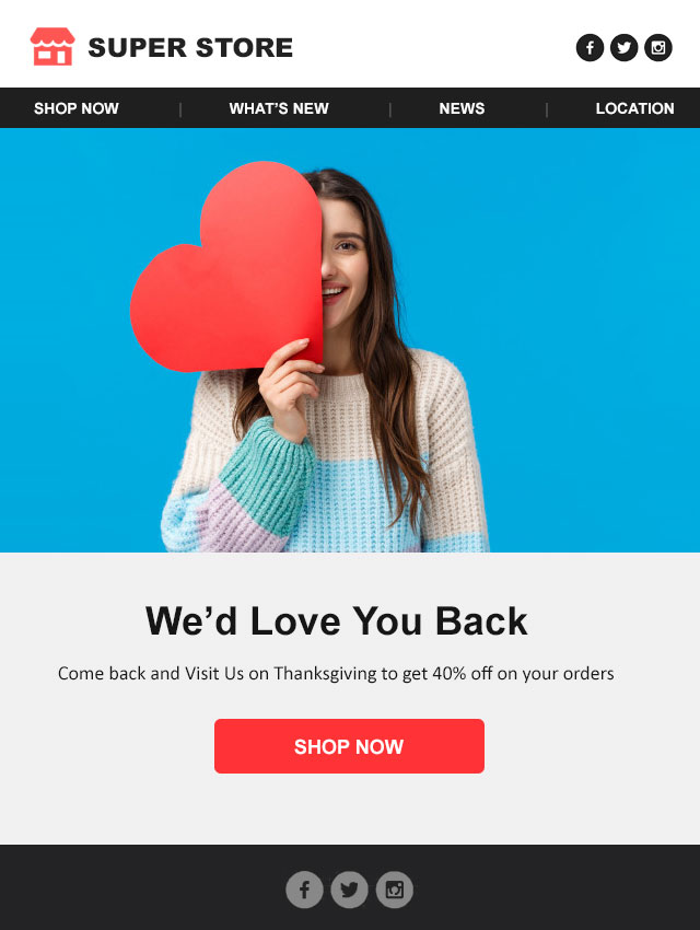 White themed eCommerce welcome email template to greet first-time shoppers. Download for Free Now.