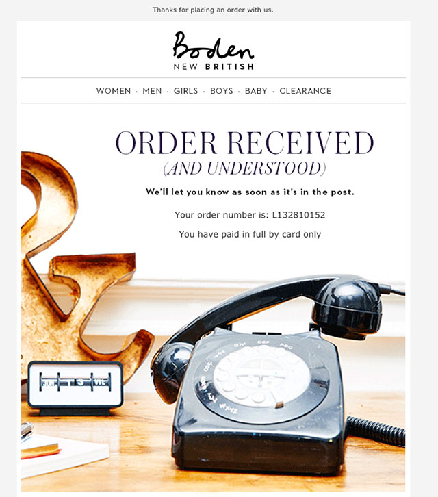 Order Confirmation Email Example 3
