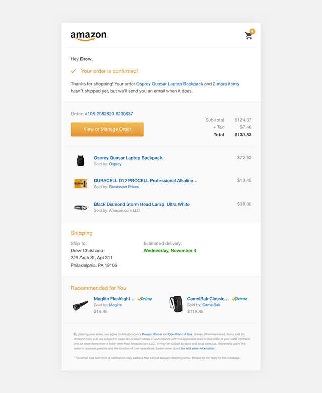 Order Confirmation Email Example 6