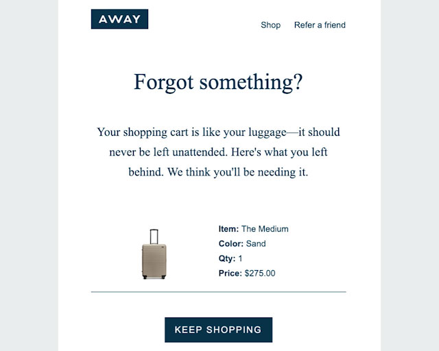 Away cart recovery email