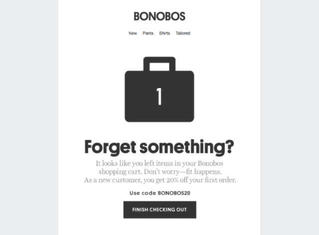 Bonobos cart recovery email