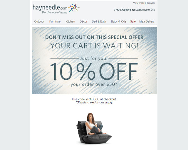 Hayneedle cart recovery email