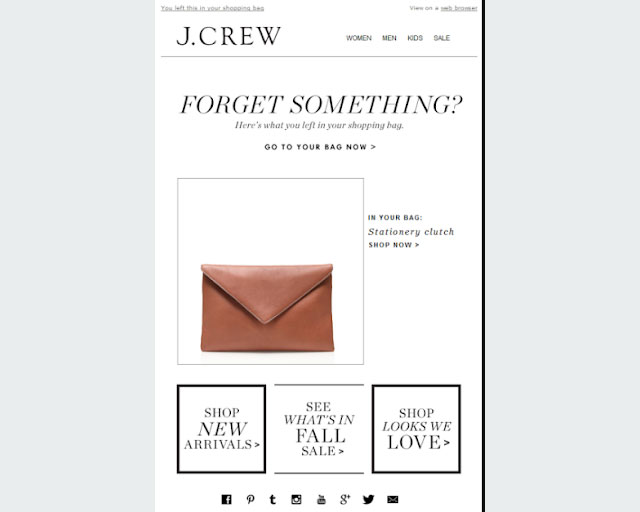 J. Crew cart recovery email