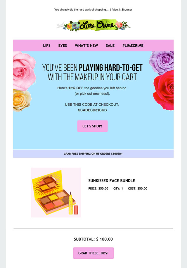 Lime crime cart recovery email
