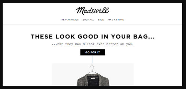 Madewell cart recovery email