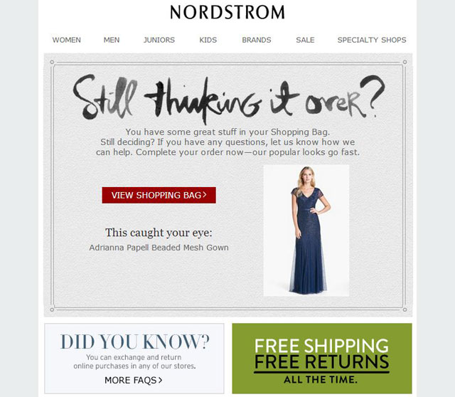 Nordstorm cart recovery email