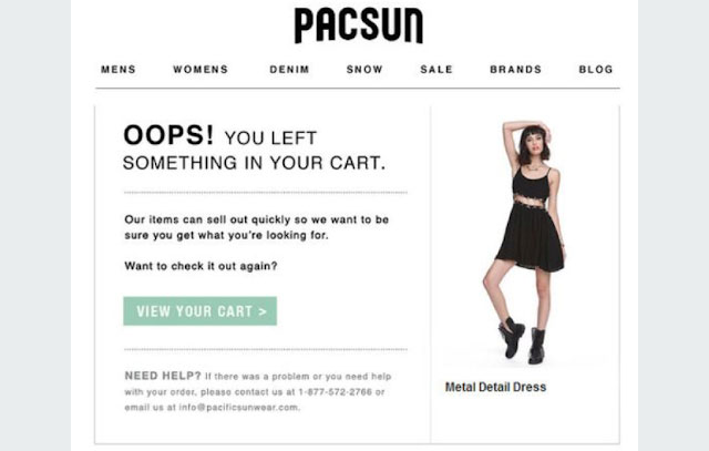 Pacsun cart recovery email