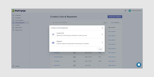BayEngage's lists and segmentation feature