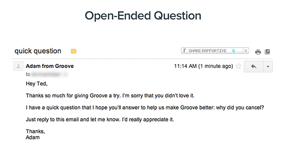 Groov's request feedback email