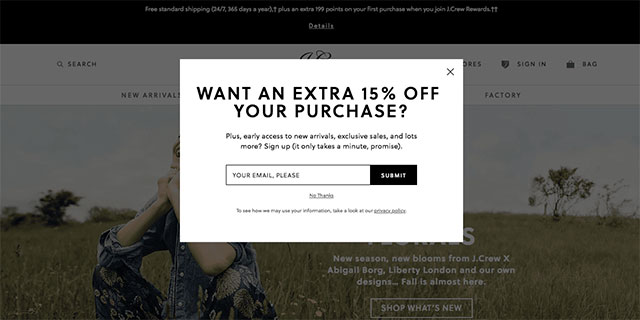 exit popup for shopify email list