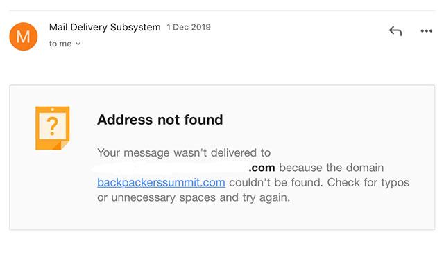 invalid email address