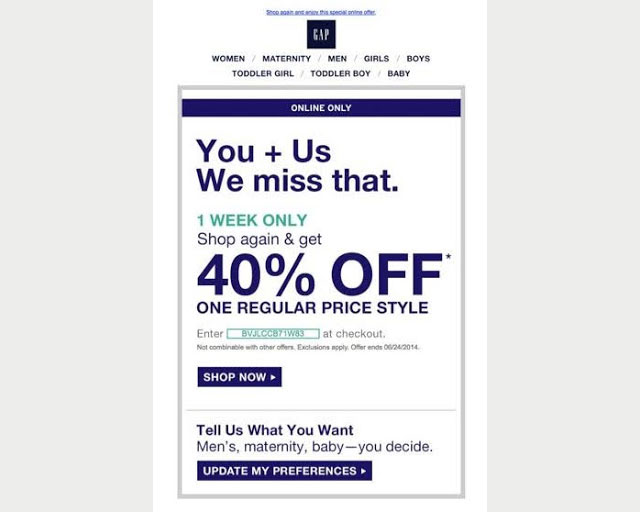 discounts and offer email