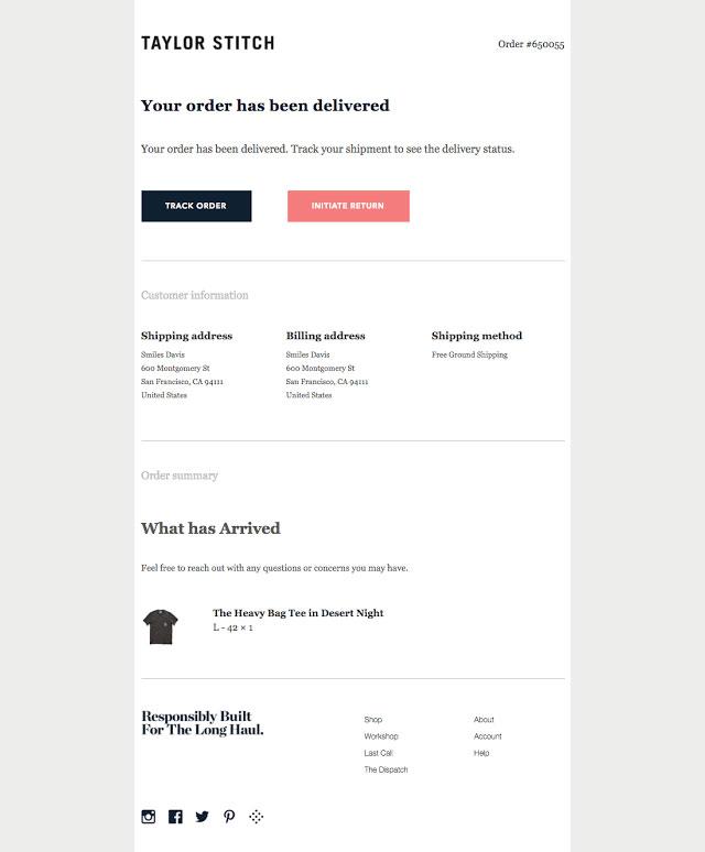 order delivered email